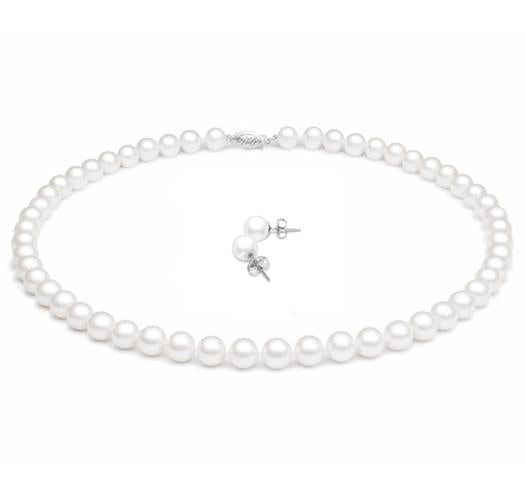 Freshwater Pearl Jewelry Set, 7mm - 7.5mm, AA, 14 KT Gold