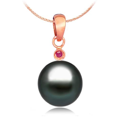 Black Tahitian Pearl Pendant - 9-11mm - AA+ - 14KT Rose Gold with Ruby