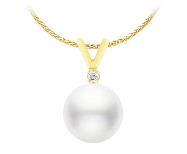White South Sea Pearl Pendant - 8-11mm - AA - 14KT Gold with Diamond
