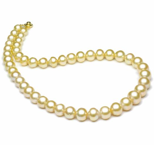 "18"" Golden South Sea Baroque Pearl Necklace, 8mm - 12mm, AA"