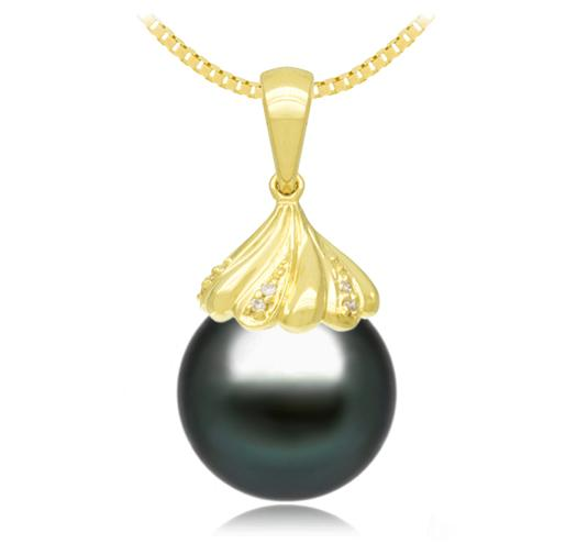 Black Tahitian Pearl Pendant - 9-13mm - AA+ - 18KT Gold with 10 Round Diamonds