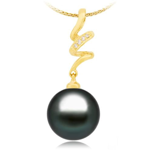 Black Tahitian Pearl Pendant - 9-13mm - AA+ - 14KT Gold with Diamonds