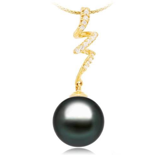 Black Tahitian Pearl Pendant - 9-13mm - AA+ - 14KT Yellow Gold with 14 Round Diamonds