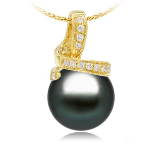 Black Tahitian Pearl Pendant - 9-13mm - AA+ - 18KT Gold with Diamonds