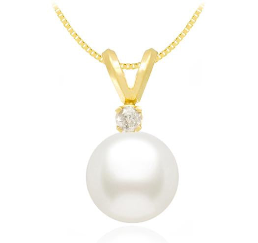 Freshwater Pearl Pendant - 7-10mm - 14KT Gold with Diamond