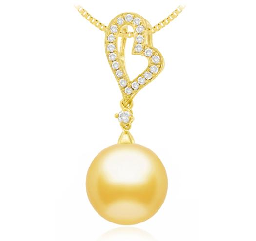 Golden South Sea Pearl Pendant - 9-14mm - 18KT Gold with Diamonds