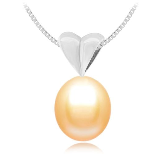 Oval Freshwater Pearl Pendant - 10mm - 14KT Gold