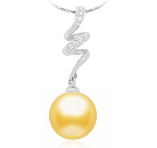Golden South Sea Pearl Pendant - 9-14mm - 14KT Gold with Diamonds