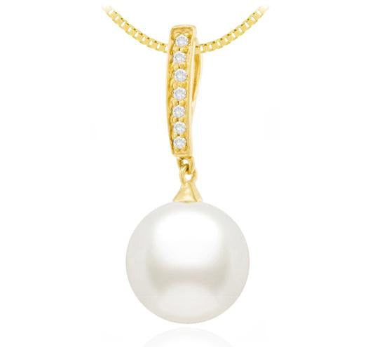 Freshwater Pearl Pendant - 7.5-10mm - 18KT Gold with Diamonds