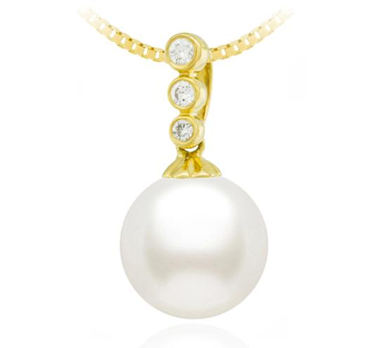 Freshwater Pearl Pendant - 7.5-10mm - 18KT Gold Pendant with Diamonds