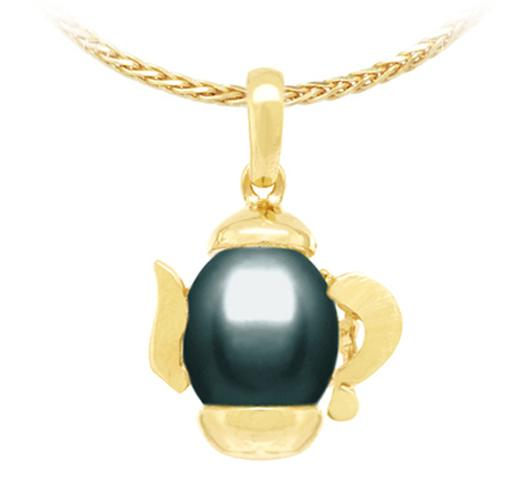 Oval Freshwater Pearl Pendant - 9mm - 14KT Gold