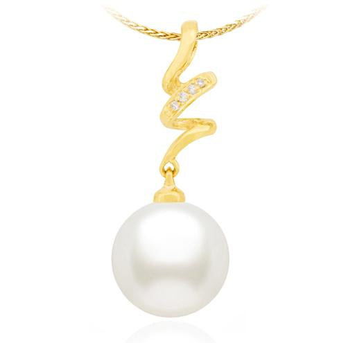 Freshwater Pearl Pendant - 10mm - 14KT Gold with Diamonds