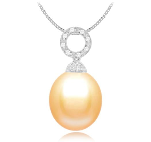 Oval Freshwater Pearl Pendant 10mm - 14KT Circle Design with Diamonds