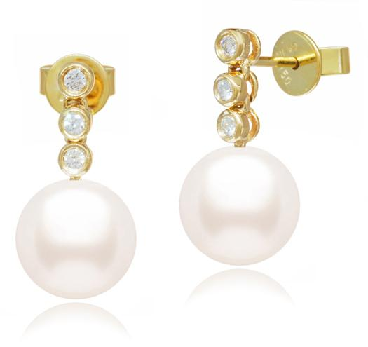 White Akoya Pearl Dangle Earrings - 6.5-11mm -AA or AAA - 18KT Gold with Diamonds
