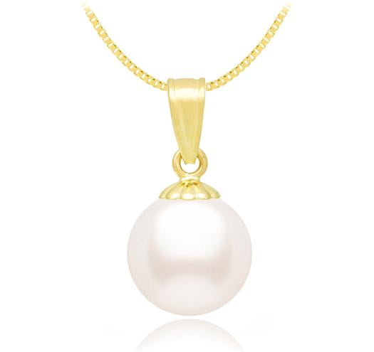 White Akoya Pearl Pendant 6.5-11mm- AA - 14KT Gold