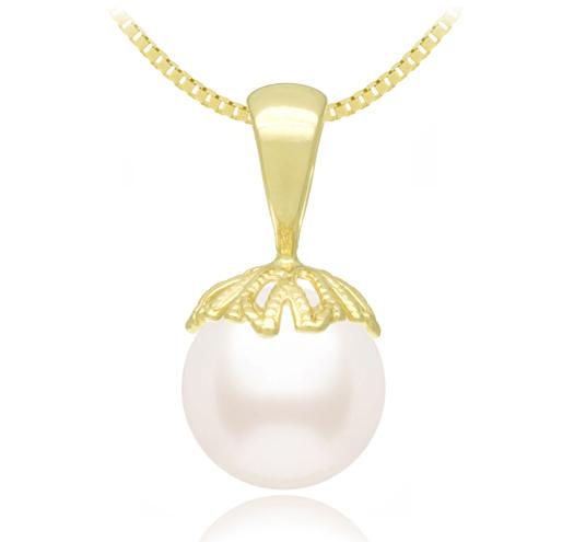 White Akoya Pearl Pendant 8 - 11mm - AA  14KT Gold