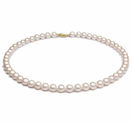 "18"" White Freshwater Pearl Necklace, 7mm - 8mm, 14 KT Gold"