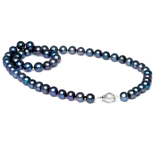 "18"" Black Freshwater Pearl Necklace, 7mm - 8mm, A"