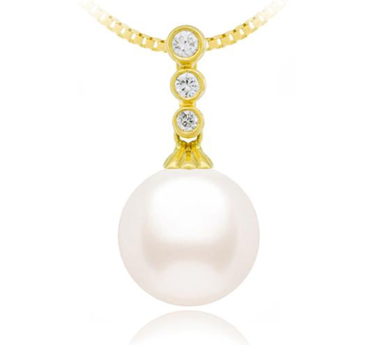 Akoya Pearl White 6.5-11mm - AA - 18KT Gold with Diamonds Three Stone Pendant