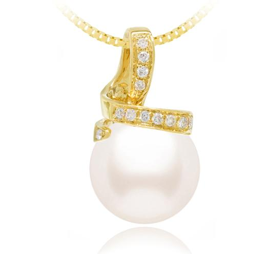 White Akoya Pearl Pendant - 8-11mm - AA - 18KT Gold with Diamond