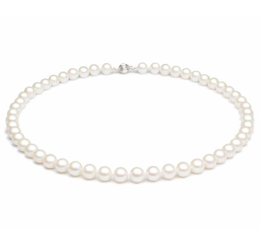 "18"" White Freshwater Pearl Necklace, 8mm - 8.5mm, 14 KT Gold"