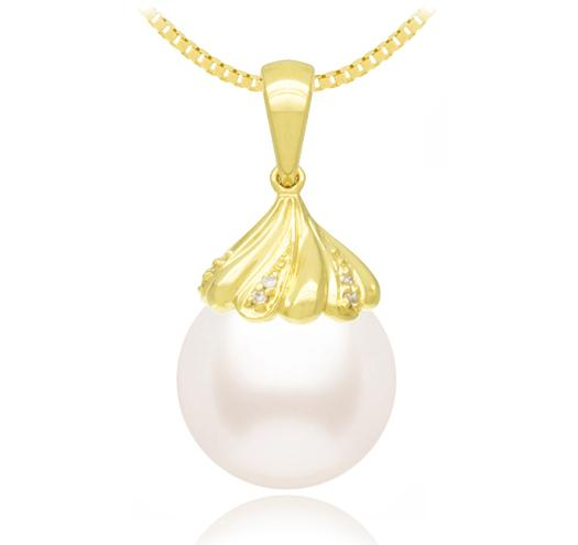 White Akoya Pearl Pendant 8-11mm - AA - 18KT Gold with Diamonds