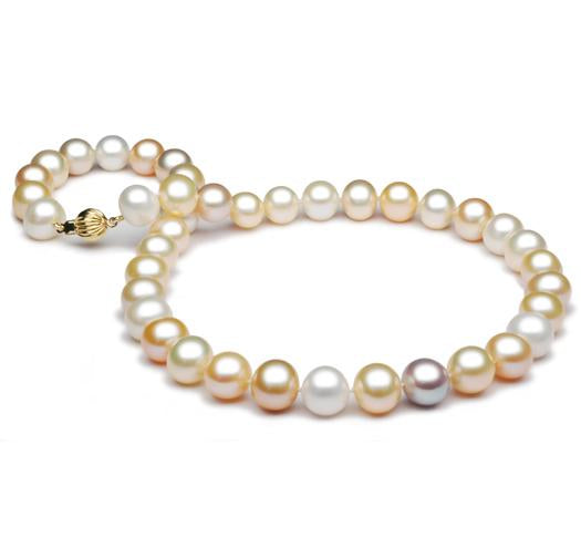 "18"" Multi Color Freshwater Pearl Necklace, 10mm - 11mm, 14 KT Gold"
