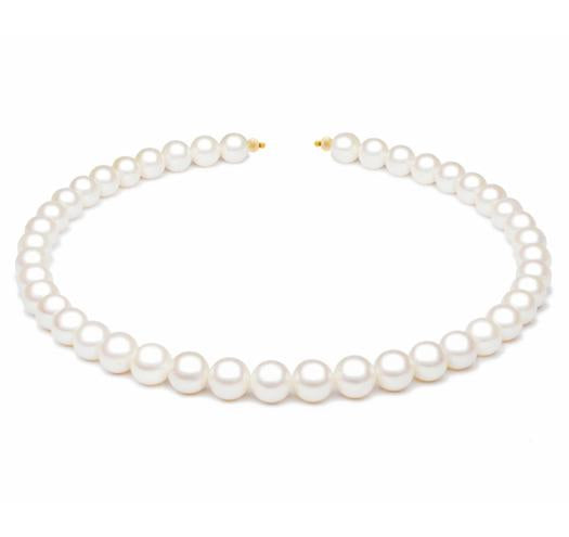 "18"" White Freshwater Pearl Necklace, 9mm - 10mm, 14 KT Gold"