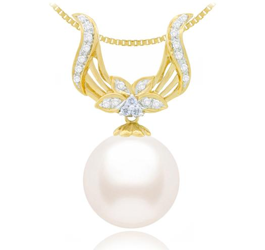 White Akoya Pearl Pendant 8-11mm - AA - 14KT Yellow Gold with Diamonds