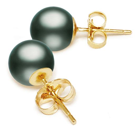 Black Tahitian Pearl Stud Earrings 9-12mm - AA or AAA - 14KT Gold