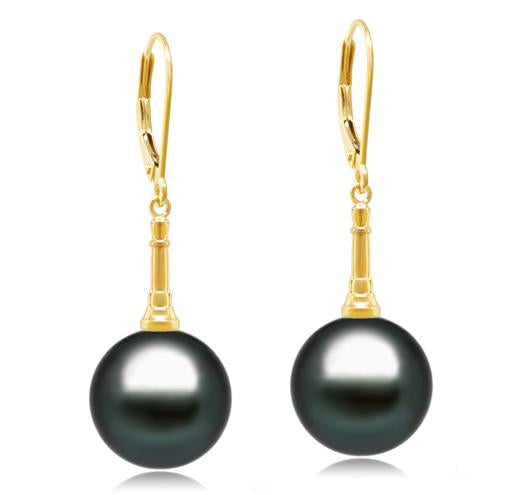 Tahitian Pearl Earrings - 9-12mm - AA+ or AAA - 14KT Yellow Gold