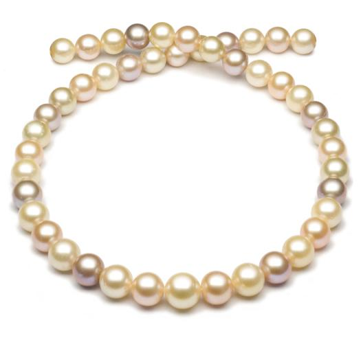 "18"" Multicolor South Sea and Freshwater Pearl Necklace, 9mm -11.5mm, AA, 14 KT Gold"