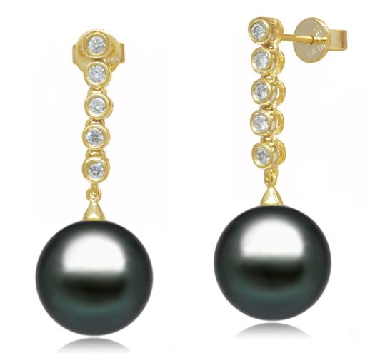 Tahitian Pearl Earrings - 9-12mm - AA+ or AAA - 18KT Gold with Diamonds