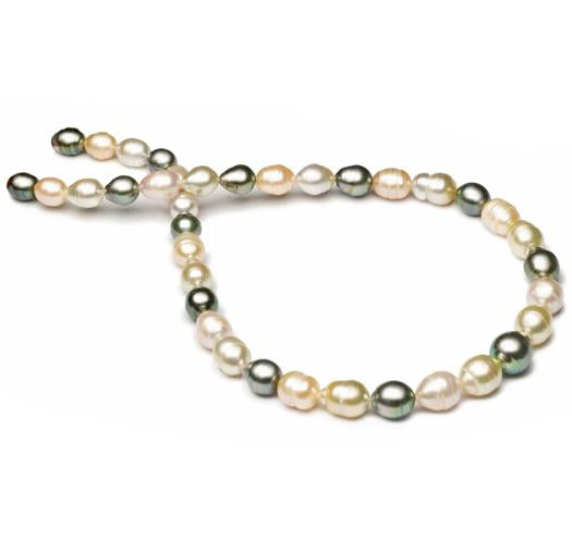 "18"" South Sea, Tahitian & Freshwater Baroque Pearl Necklace, 8mm - 11.5mm, AA, 14 KT Gold"