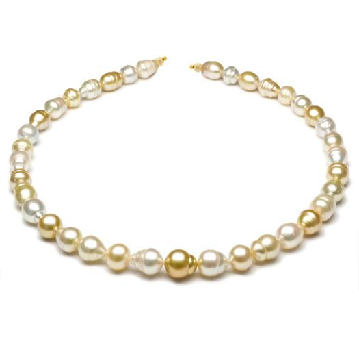 "18"" Multicolor, South Sea Baroque Pearl Necklace, 9mm - 12.5mm, AA"