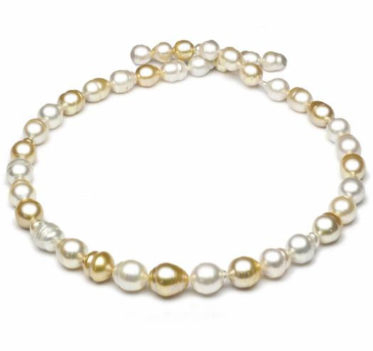"18"" Multicolor, South Sea Baroque Pearl Necklace, 7.5mm - 11.5mm, A, 14 KT Gold"