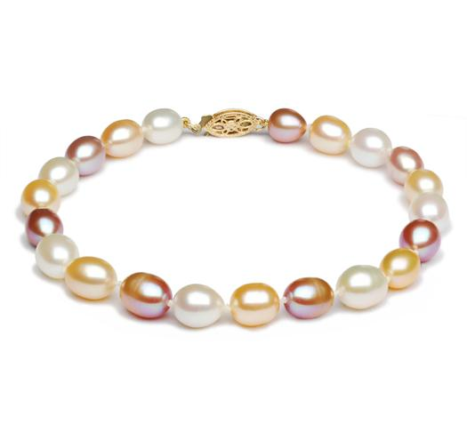 Freshwater Oval, Multicolor Pearl Bracelet, 6.5mm - 7mm, 14 KT Gold