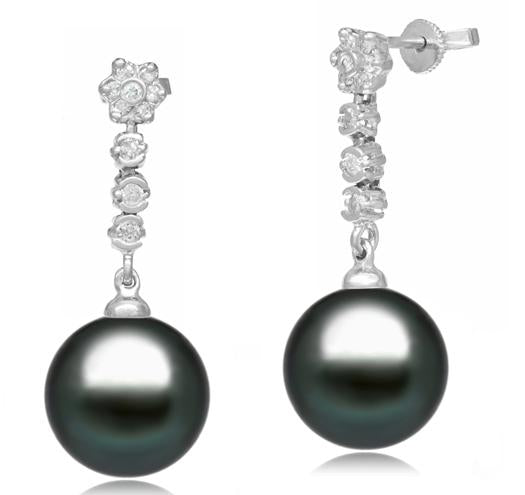 Tahitian Pearl Earrings - 9-11mm - AA+ or AAA - 14KT Gold with Diamonds