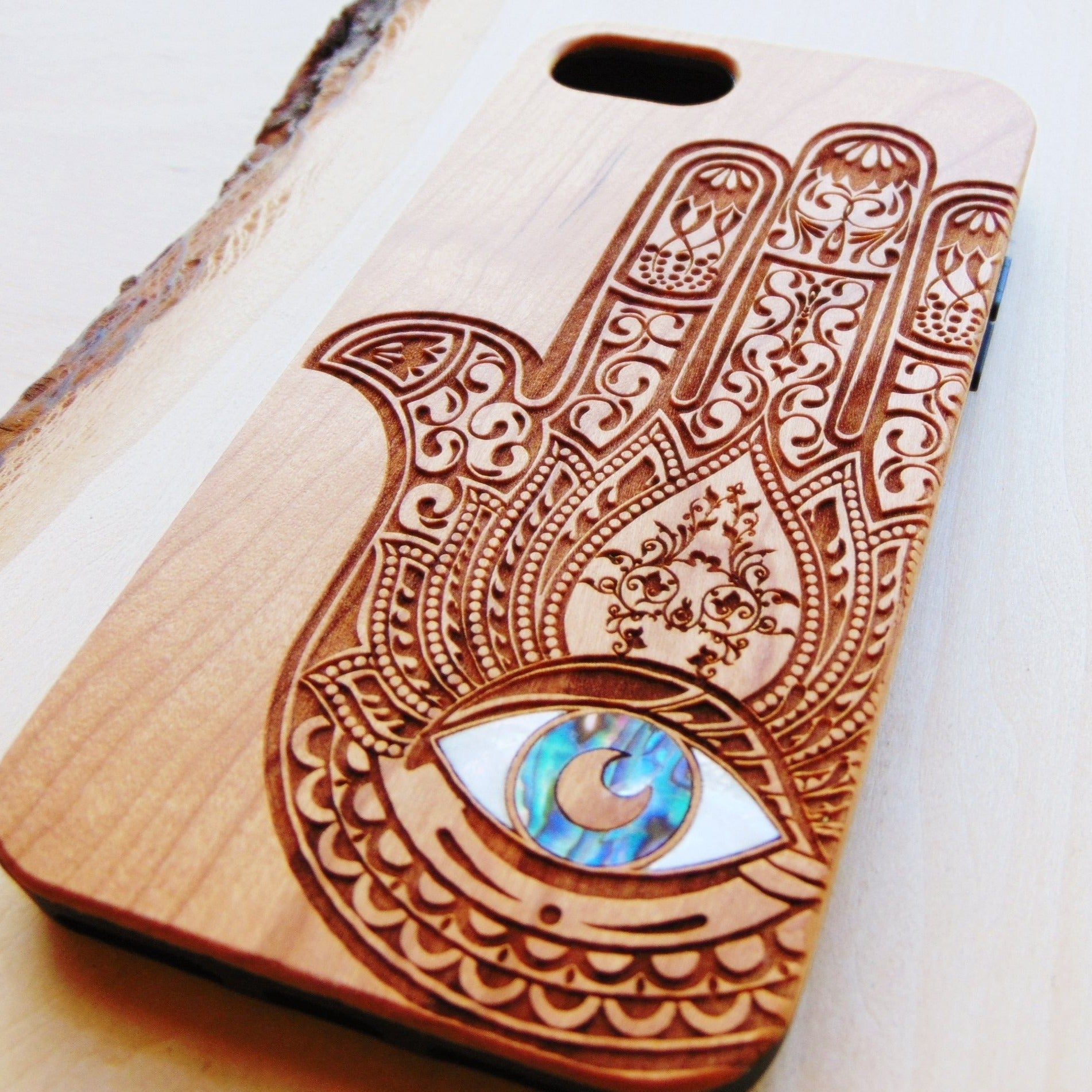 hamsa design wooden phone case with abalone shell inlay