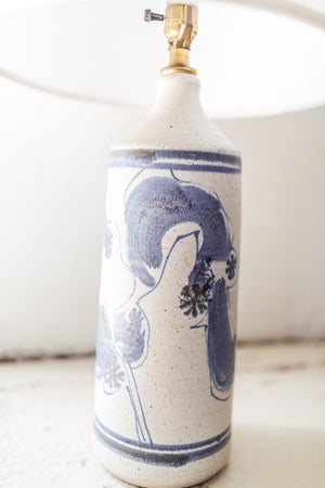Wishon Harrell  Ceramic Lamp  with  Abstract  Blue                                               Vintage