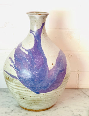 Blue Splash Ceramic Vase               Vintage