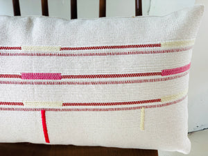 Handwoven Pillow Organic Cotton with Red, Pink, Wheat