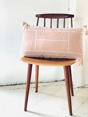 Blush Grid Linen Pillow