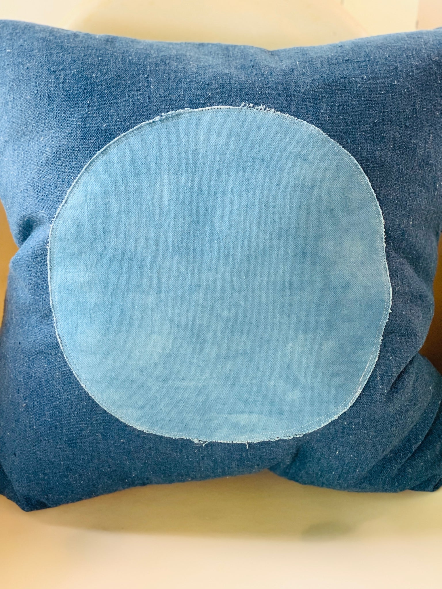 Circle Pillow Natural  Indigo Applique
