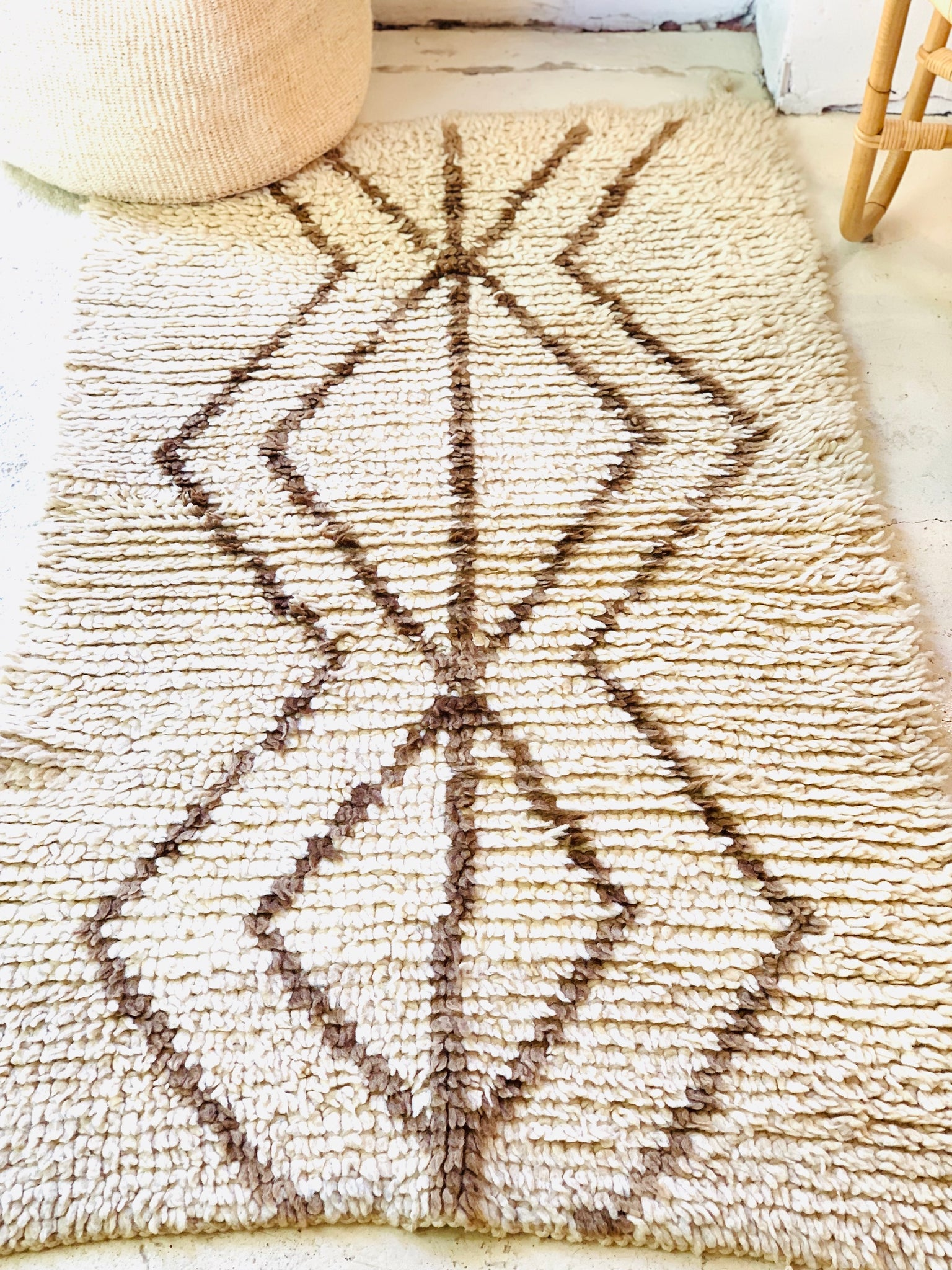Natural Moroccan Rug with Brown Diamonds Vintage