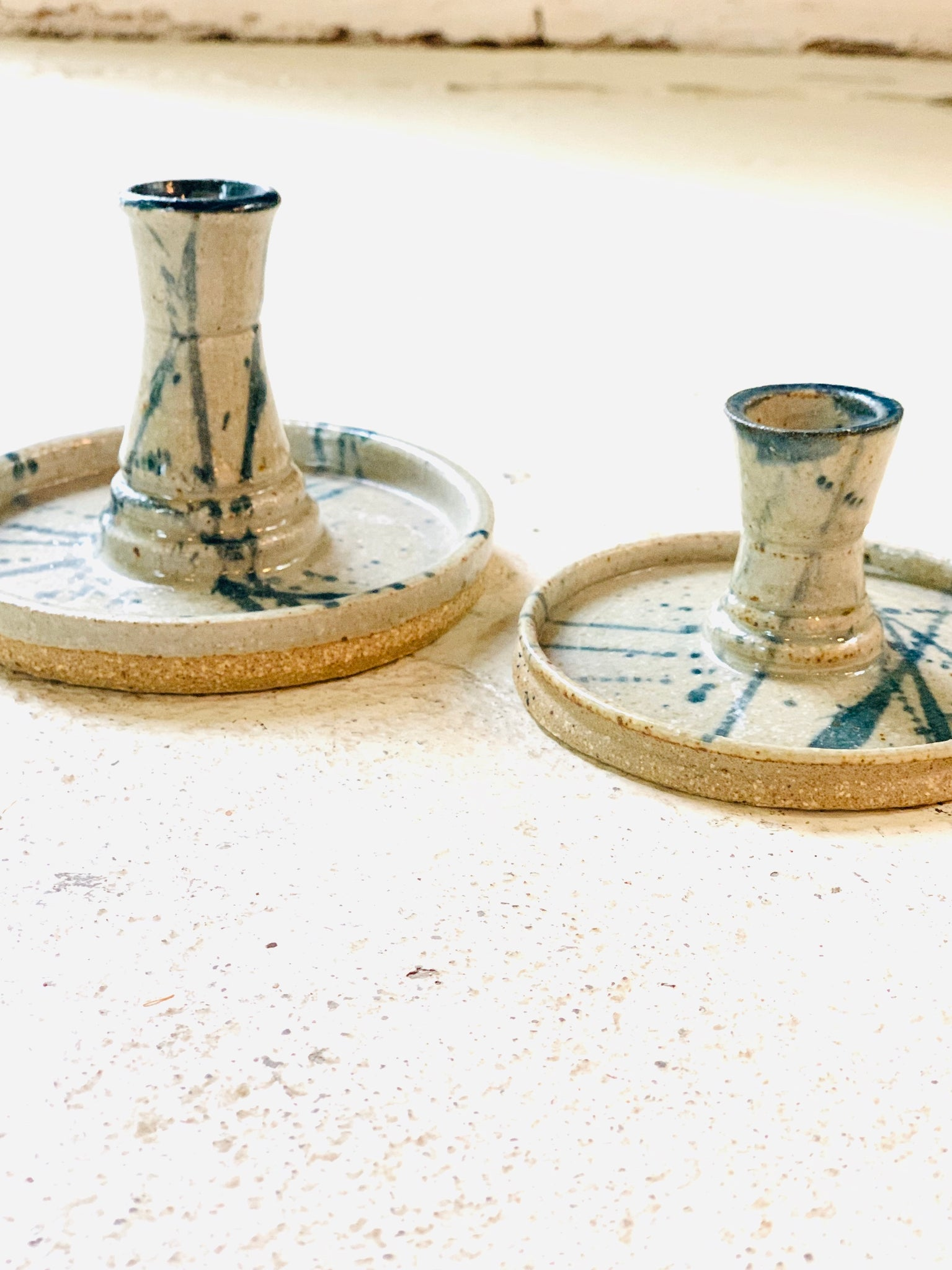 Pair of Pottery candlesticks        Vintage