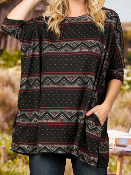 Casual Crew Neck Printed Sweater