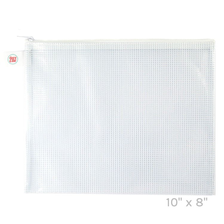 White Small Zippered Mesh Vinyl Pouch
