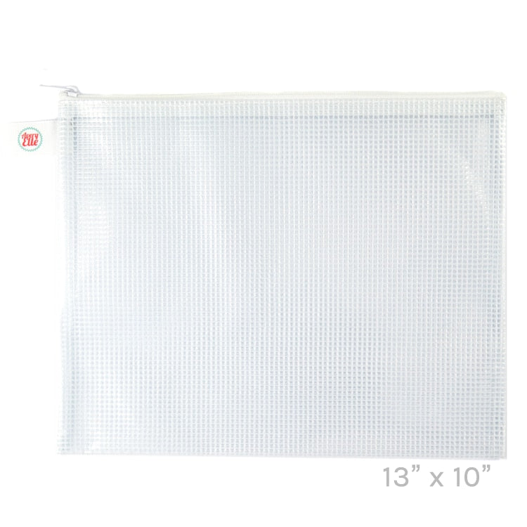 White Large Zippered Vinyl Mesh Pouch