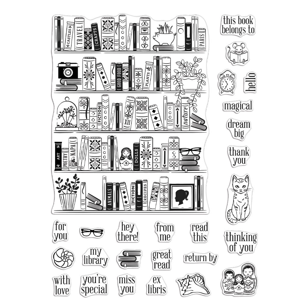 Bookcase Peek a Boo Clear Stamps | Hero Arts